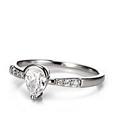 Diamonique 0.8ct tw Pear Cut Ring Sterling Silver