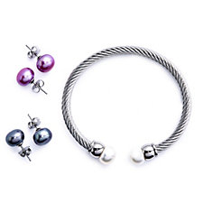 Honora 10-11mm Cultured Pearl Bracelet & Earrings Set Stainless Steel