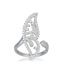 679658 - Diamonique 1.1ct tw Butterfly Wing Ring Sterling Silver