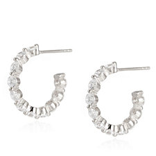 Diamonique 2.2ct tw Hoop Earrings Sterling Silver