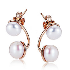 Honora 8-10mm Cultured Pearl Double Button Earrings Bronze