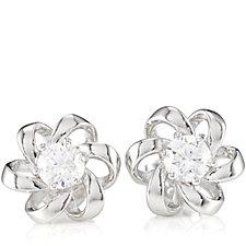 Diamonique 1ct tw Ribbon Stud Earrings Sterling Silver