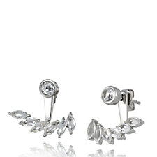 Lisa Snowdon White Topaz Vine Jacket Earrings Sterling Silver