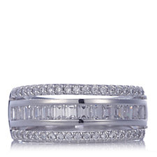 Diamonique 1ct tw Mixed Cut Tripple Row Band Ring Sterling Silver