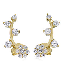 Diamonique 0.8ct tw Flower Ear Climber 14ct Gold Plated Sterling Silver