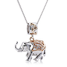 Clogau 9ct Rose Gold & Sterling Silver Elephant Necklace