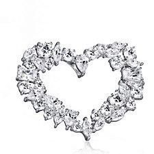 Diamonique by Tova 8.2ct tw Multi Cut Open Heart Brooch Sterling Silver