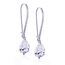 Diamonique 9.4ct tw Teardrop Earrings Sterling Silver