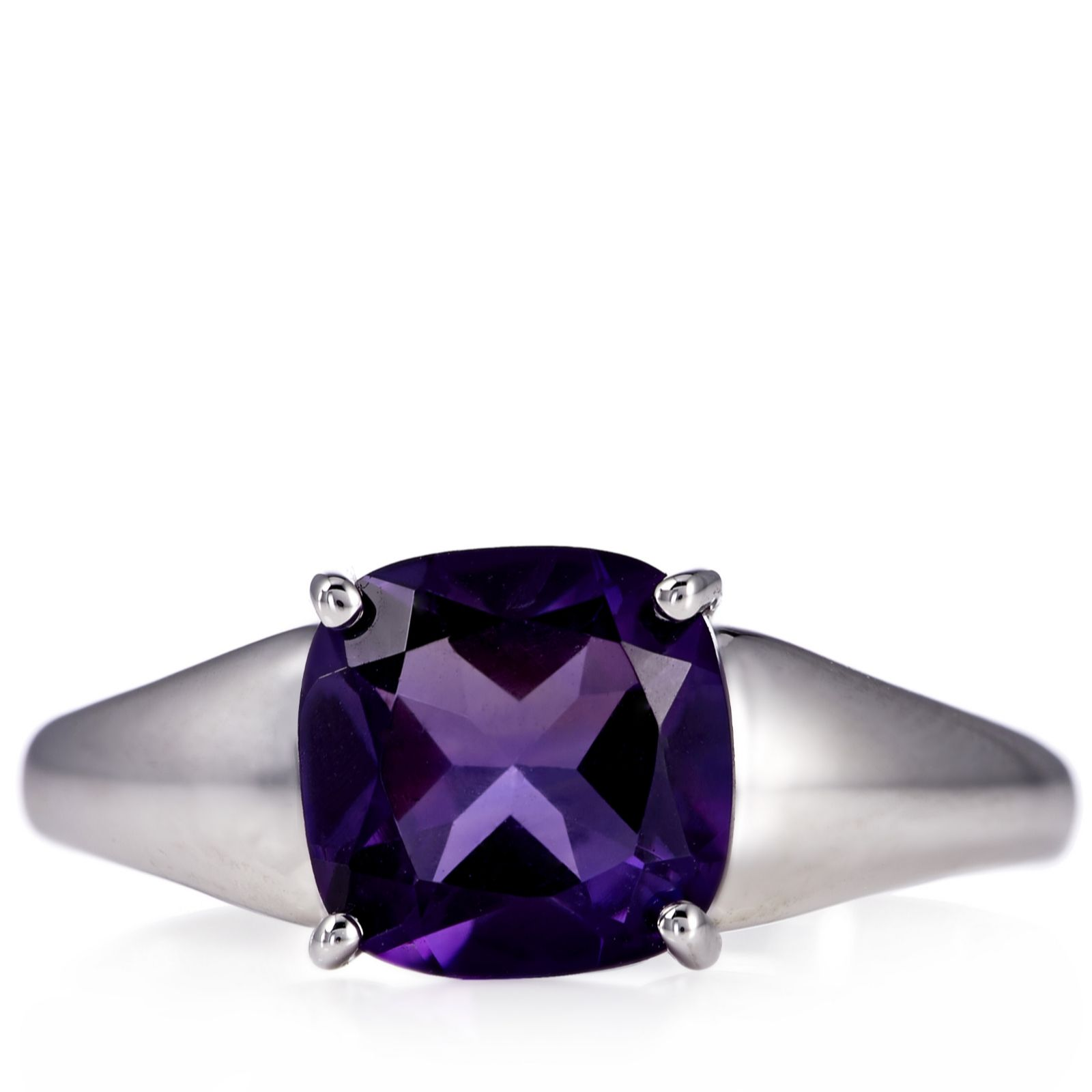 2.1ct Artigas Amethyst Cushion Cut Ring Sterling Silver