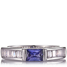 Diamonique 1.2ct tw East West Simulated Tanzanite Ring Sterling Silver