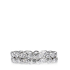 Diamonique by Andrea McLean 2ct tw 2 Set Eternity Rings Sterling Silver