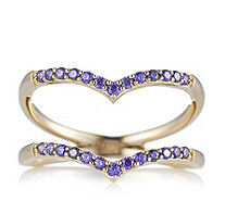 Diamonique 0.3ct tw Simulated Amethyst Open Chevron Ring Sterling Silver - 663860