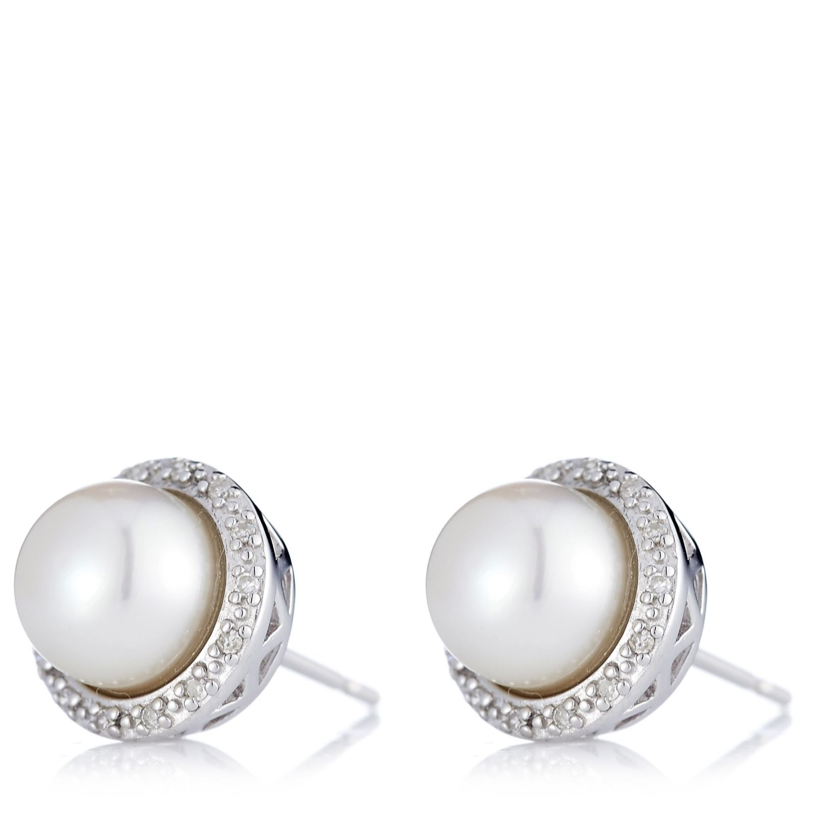 Honora 7-7.5mm Cultured Pearl Diamond Surround Earrings Sterling Silver