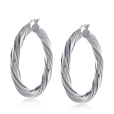 BluOro Glitter Twist Hoop Earrings Sterling Silver