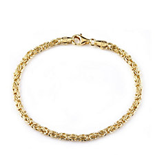 Veronese Classic 18ct Gold Plated Byzantine 20cm Bracelet Sterling Silver