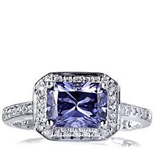 Diamonique 1.5ct tw Sim Benitoite Halo Ring Sterling Silver