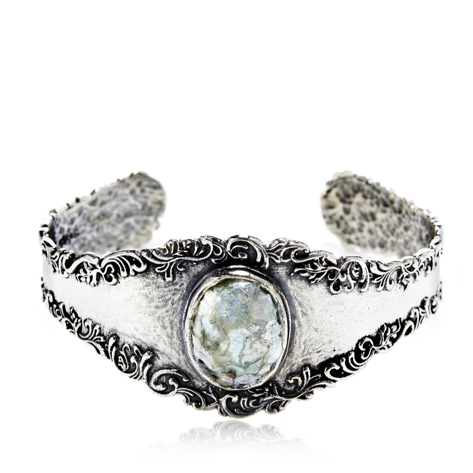 Or Paz Roman Glass Bangle Sterling Silver
