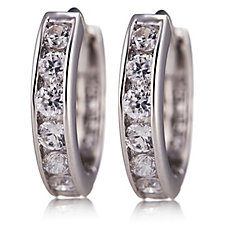 Diamonique 0.7ct tw 7 Stone Huggie Earrings Sterling Silver