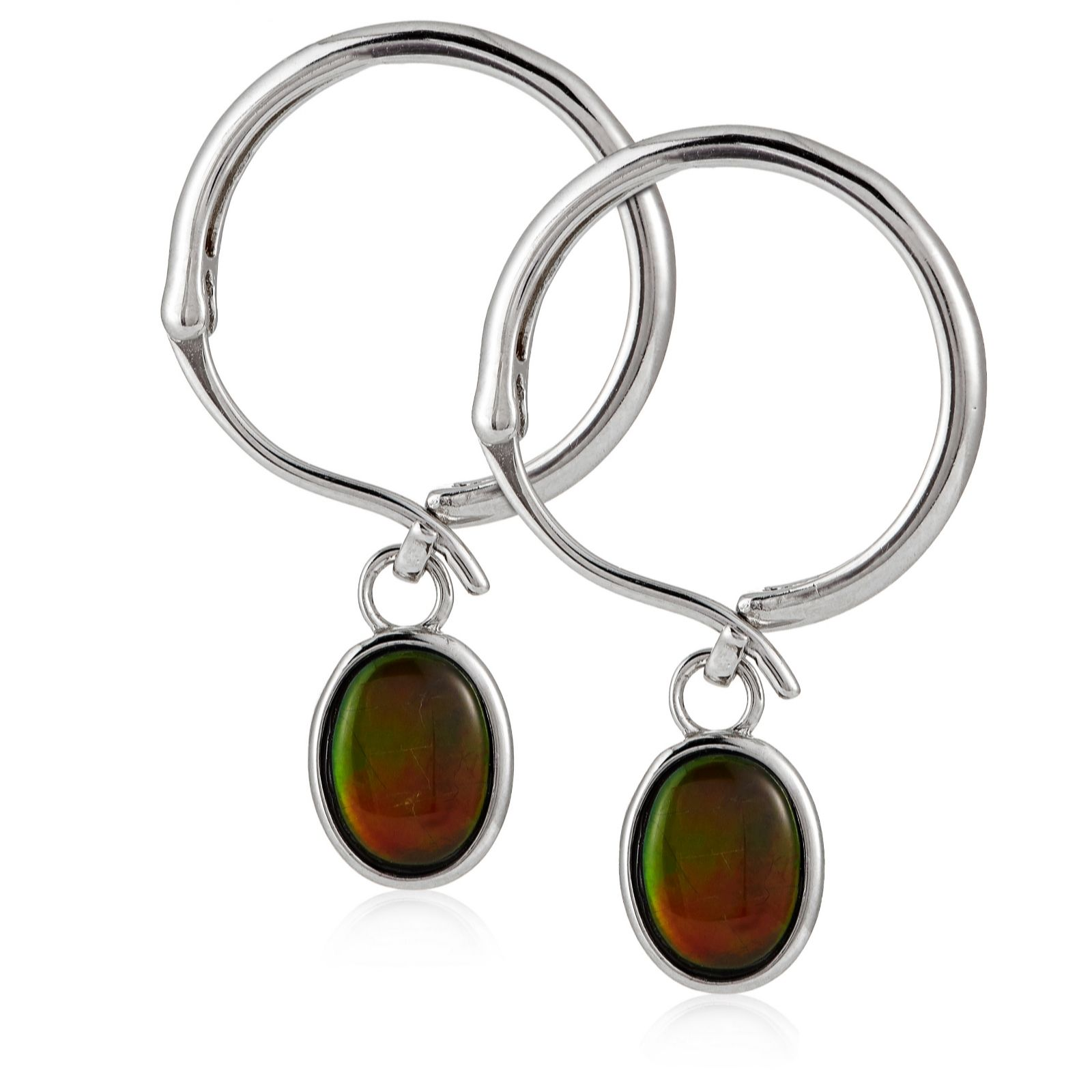 Canadian Ammolite Triplet Elegance Drop Earrings Sterling Silver