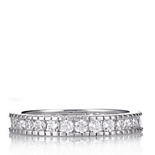 Diamonique 0.8ct tw Milgrain Eternity Ring Sterling Silver