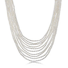 Honora 4-4.5mm Cultured Pearl Multistrand 45cm Necklace Sterling Silver