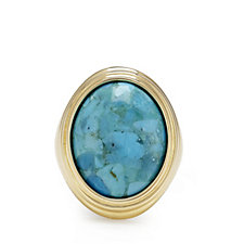 Bella Vita 18ct Gold Plated Turquoise Ring