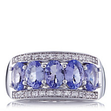 1.8ct Tanzanite & White Topaz Band Ring Sterling Silver