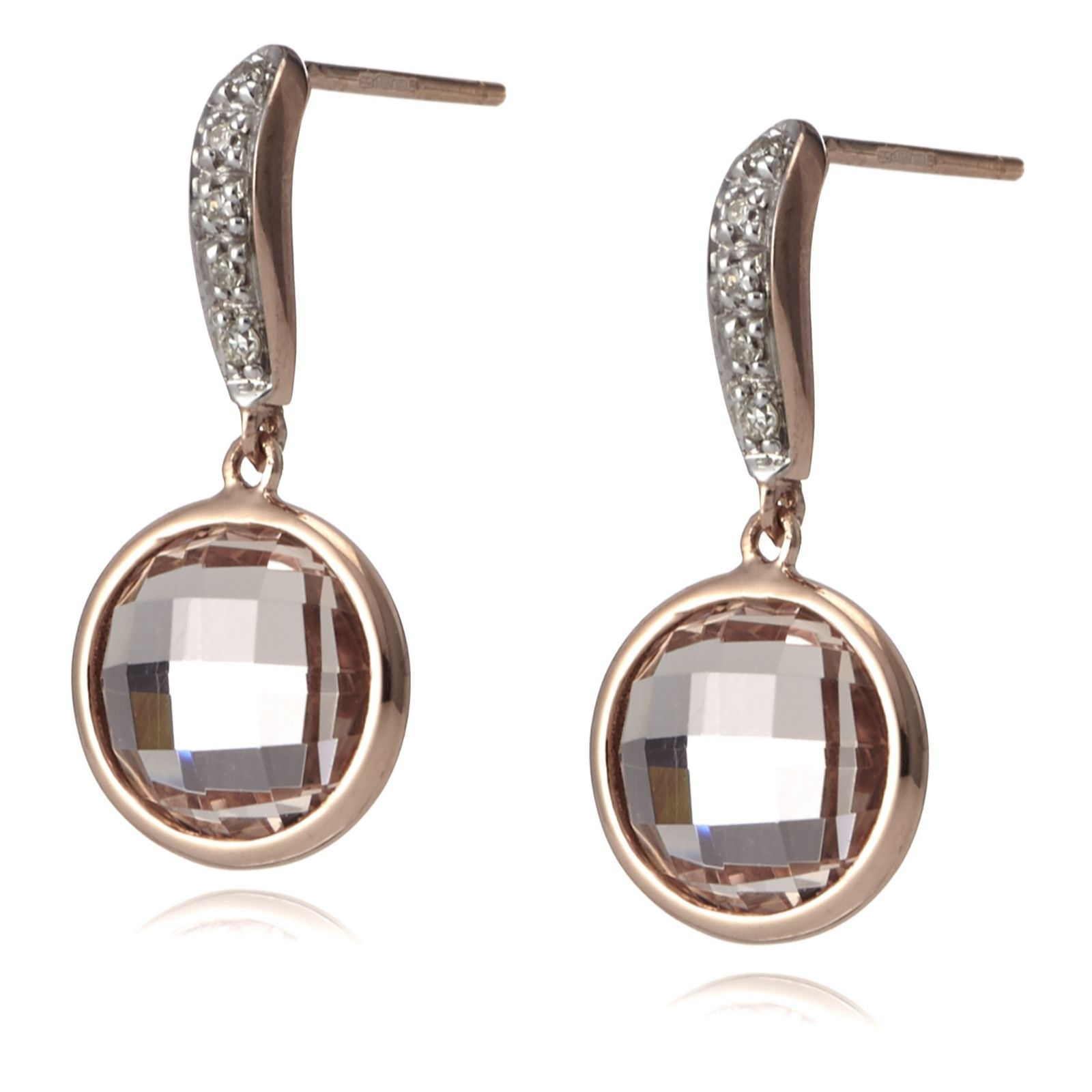 Viva Las Vegas 4ct Morganite & Diamond Briolette Earrings 9ct Rose Gold