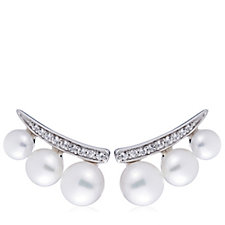 Honora 4-6mm Cultured Pearl Earclimber Earrings Sterling Silver