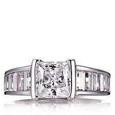 Epiphany Platinum Clad Diamonique 2.9ct tw Art Deco Ring Sterling Silver