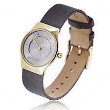 Skagen Ladies Austrian Crystal Leather Strap Watch