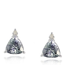 1.3ct Peacock Tanzanite Trillion Cut Stud Earrings 9ct White Gold