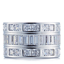 Epiphany Platinum Clad Diamonique 4ct tw Mixed Cut Ring Sterling Silver