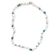 Honora 6-9mm Pearl & Turquoise 45cm Necklace Sterling Silver