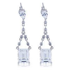 Diamonique 9.2ct tw Emerald Cut Suspended Drop Earrings Sterling Silver