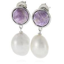 Honora 10-11mm Cultured Pearl Amethyst Earrings Sterling Silver