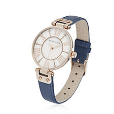 Anne Klein The Signature Mother of Pearl Leather Strap Watch