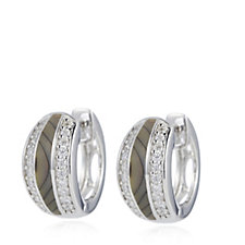 Diamonique 0.3ct tw Segment Huggie Earrings Sterling Silver