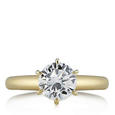 Diamonique 1ct - 3ct tw Solitaire Ring 14ct Gold Plated Sterling Silver