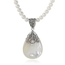 Suarti Collection Pearl Necklace with MOP Pendant Sterling Silver