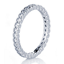 Diamonique 0.9ct tw Eternity Set Ring Sterling Silver