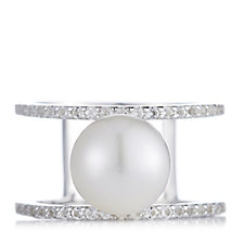 Honora Cultured Pearl White Topaz Pinball Ring Sterling Silver