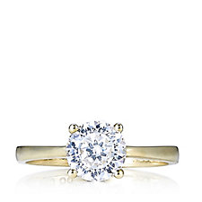 Diamonique 1.5ct tw 100 Facet Solitaire Ring 9ct Gold