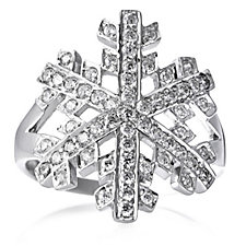 Diamonique 1.1ct tw Snowflake Ring Sterling Silver