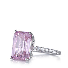 Diamonique 7.6ct tw Emerald Cut Cocktail Ring Sterling Silver