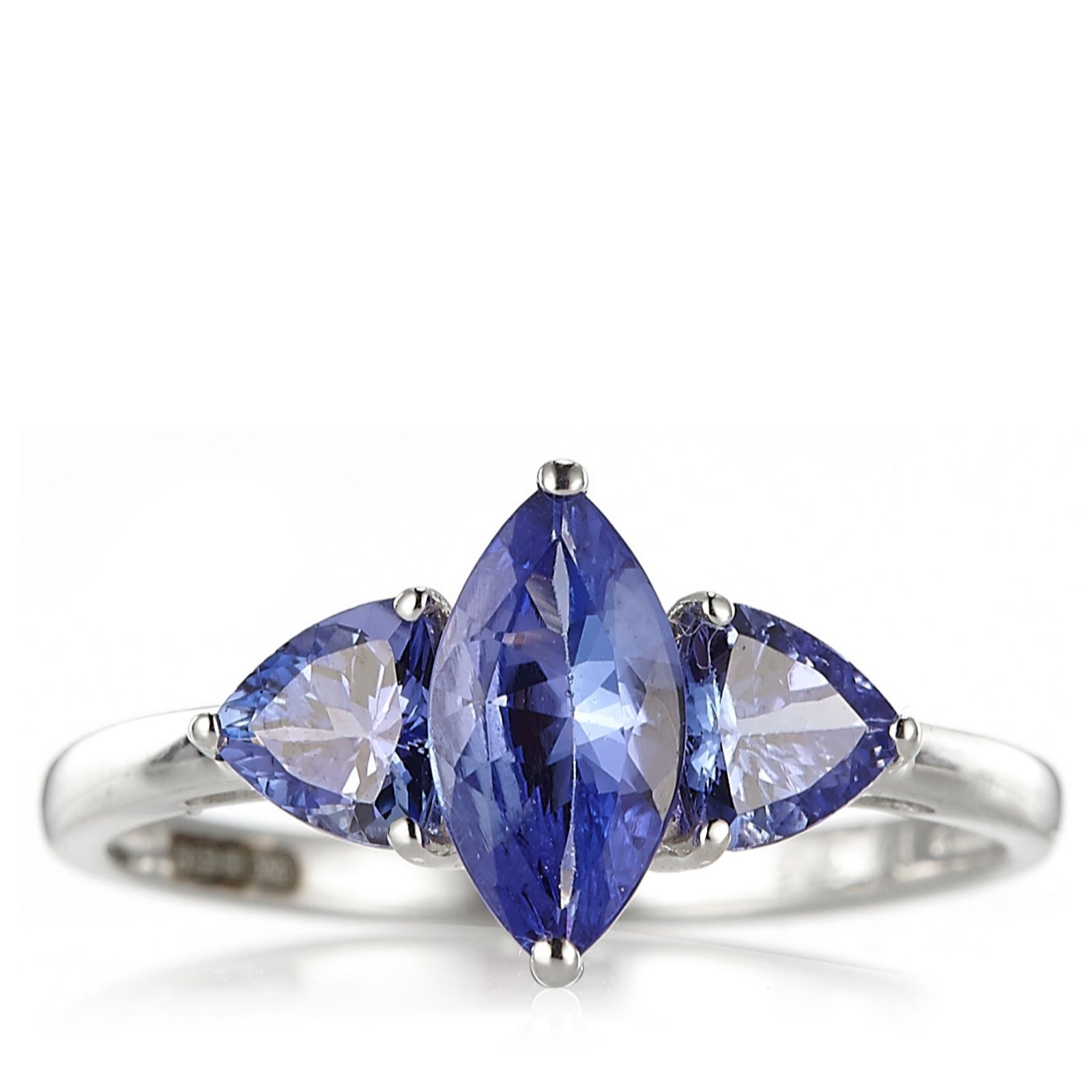 1.6ct Tanzanite Trilogy Ring 9ct White Gold