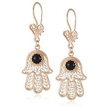 Ottoman Gemstone Hamsa Drop Earrings Sterling Silver