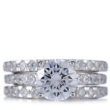 Diamonique 3.1ct tw Round Solitaire 3 Ring Set Sterling Silver