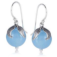 Or-Paz Gemstone Bead Leaf Earrings Sterling Silver