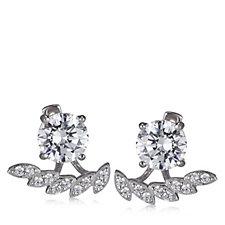 Diamonique 3.8ct tw Stud & Wing Jacket Earrings Sterling Silver